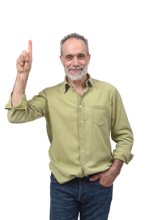 senior man with finger in the shape of number