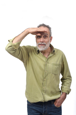 man with hand in front looking away on white background Banco de Imagens