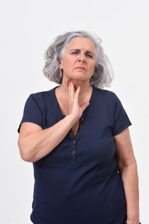 woman with cough on white background Stock Photo