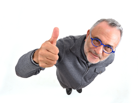 man thumps up on white background 写真素材