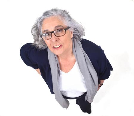 top view portrait of a woman on  white Zdjęcie Seryjne