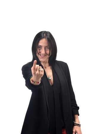 vrouw die zegt met je vinger kom Stockfoto