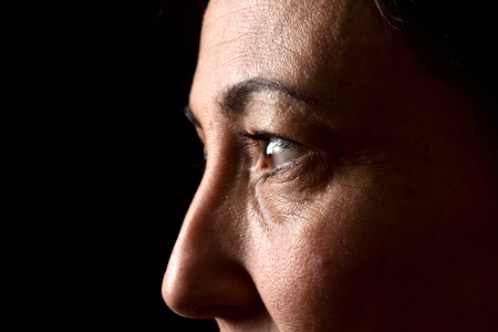 skin texture of middle aged woman Stock Photo