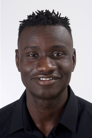 portrait of a african man face,on white background