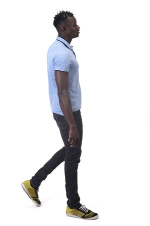 african man walking on white background