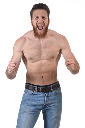 angry shirtless man in white background Foto de archivo