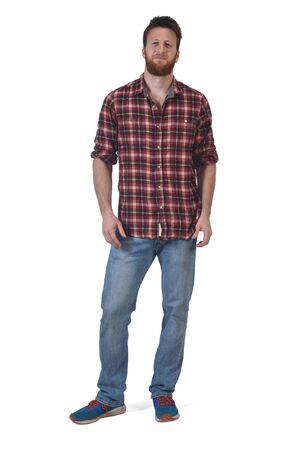 volledig portret van een man met op witte achtergrond Stockfoto