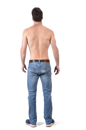 back view of a shirtless man on white Imagens