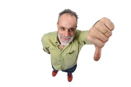 man with thumb down on white background