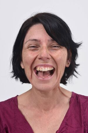 Woman smiling with her mouth open