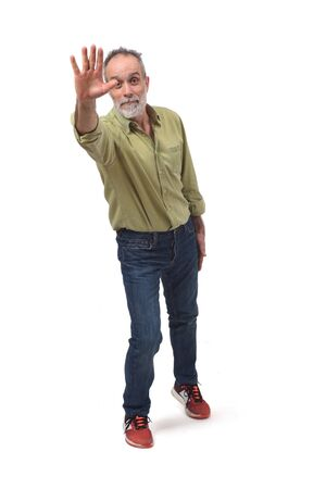 man waving on white background