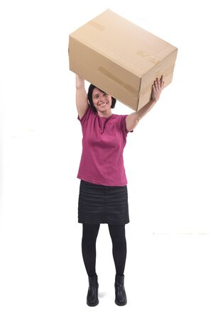 woman with package on white background Stock Photo