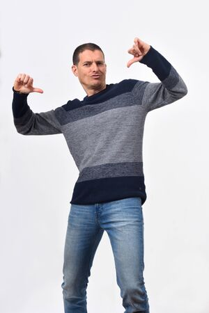 man pointing oneself on white background