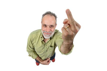 man who lifts on middle finger in a rude way