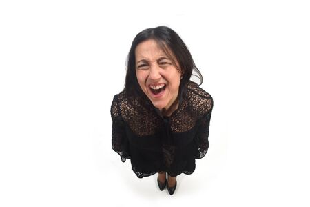 top view of woman  screaming on white background