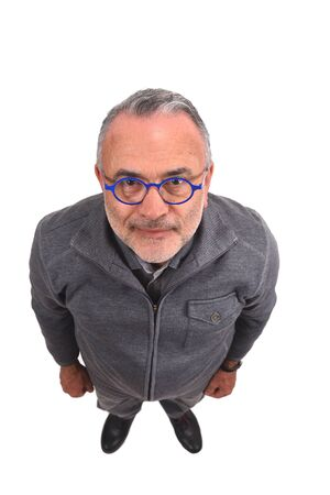 Draufsicht Porträt eines Mannes auf Weiß on