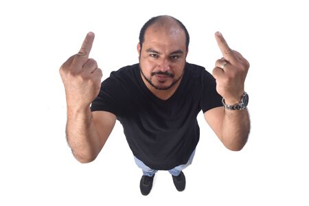latin american man who lifts on middle finger in a rude way