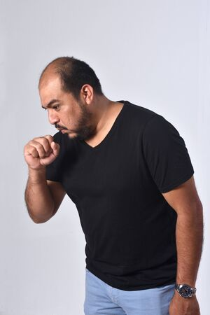 latin america man with cough on white background