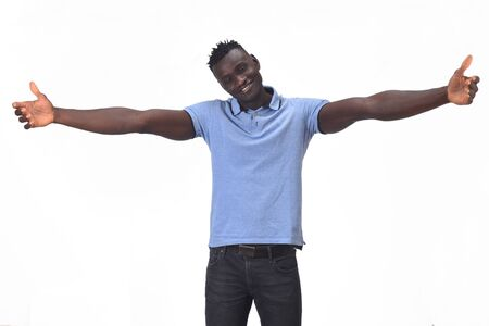 african man hugging on white background Imagens