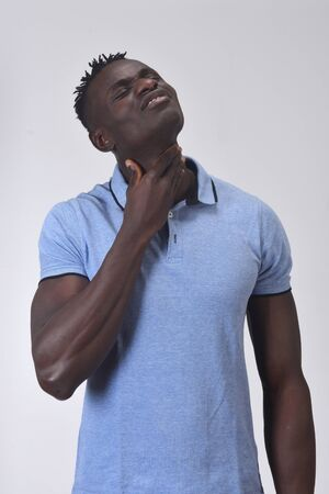 african man with neck on white background