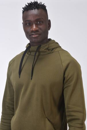 portrait of a african man with  sweatshirt on white backgroud, Stockfoto
