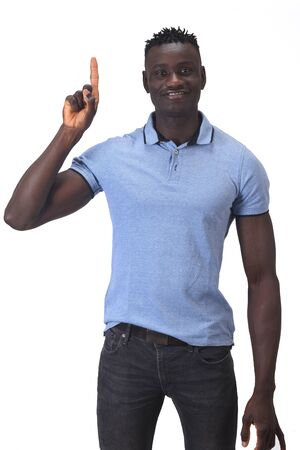 african man with finger in the shape of number one Stockfoto