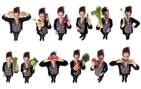 Portrait d'une femme avec différents légumes en fond blanc