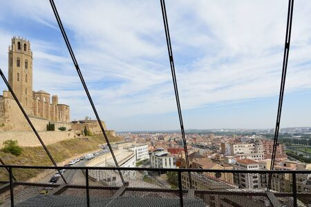 View of the Cathedral, La Seu Vella, from the elevator, LLeida, Catalonia, Spain 版權商用圖片 - 150501273