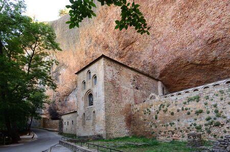 facade of Old monastery of San Juan de la Pena, Huesca province, Aragon, Spain
