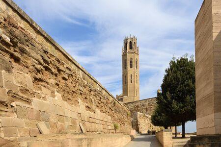 View of the Cathedral, La Seu Vella, LLeida, Catalonia, Spain 版權商用圖片