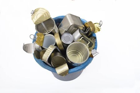 trash can (tin can food) full of cans on white