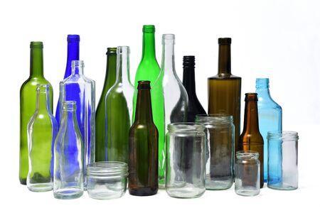 recyling glass on white background