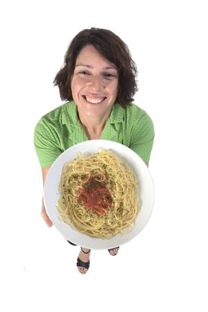 woman with spaghetti on white background