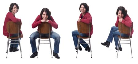 woman sitting on a chair with various poses on white Reklamní fotografie
