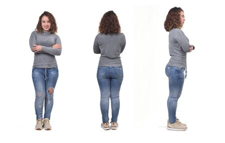woman with jeans front, back and side view on white background, arms crossed