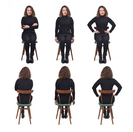 woman sitting on chair on white front and back view,