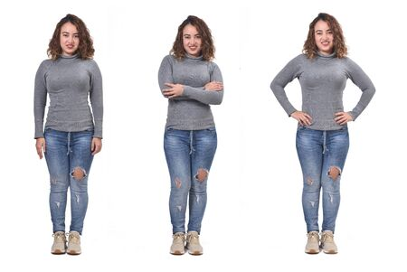 front photo of a woman with various poses