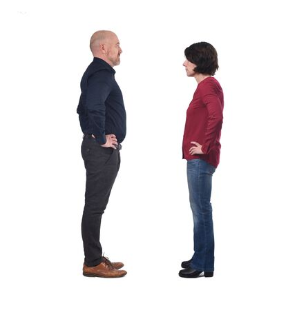 couple facing each other on white background Banque d'images