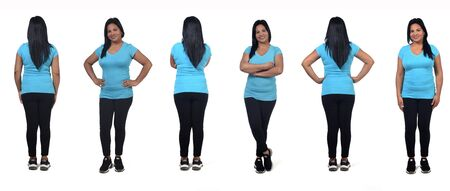 front and back of same woman on white background