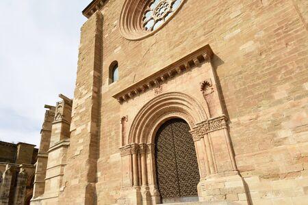 Door of La Anunciata, Cathedral de Lleida, La Seu Vella, Catalonia, Spain Imagens
