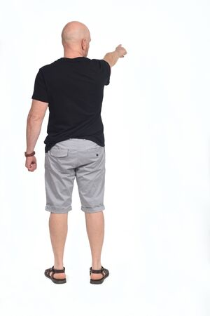rear view of a bald man pointing on white background,