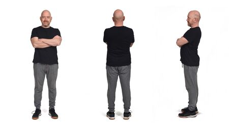 the same person with a profil face and back, bald, with sportswear on white background Stock Photo