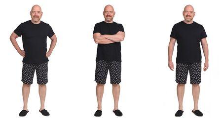 grupo del mismo hombre con pantalón corto pijama Foto de archivo