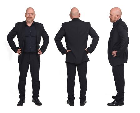 collage of a man front back and profile on white background, hands on hip Imagens