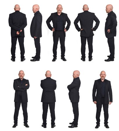 large group of collage of a man front back and profile on white background