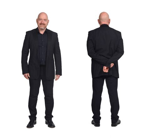man front and back on white background, hands on hip Imagens