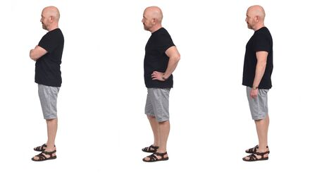 group of same Bald man with sandals t-shirt and shorts on white, side view