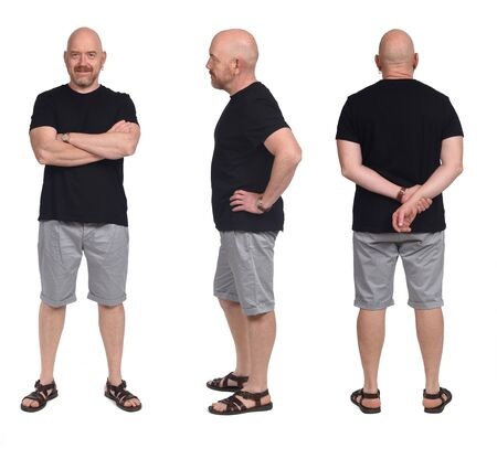 group of same Bald man with sandals t-shirt and shorts on white, front,back and rear view Imagens