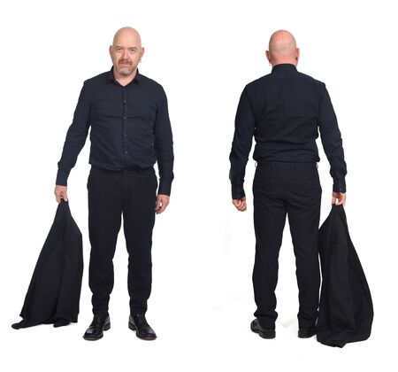 same man holding the jacket front and back view on white background Imagens