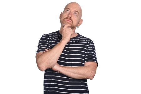 man with hand on chin thinking on white background